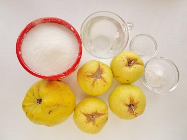 Ингредиенты для приготовления варенья из айвы